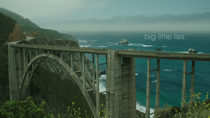 Shot of Bixby Creek Bridge, overlooking the ocean.