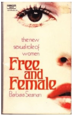 Book jacket for Seaman's Free and Female, features a photo of half of a face with red lips and long eyelashes.