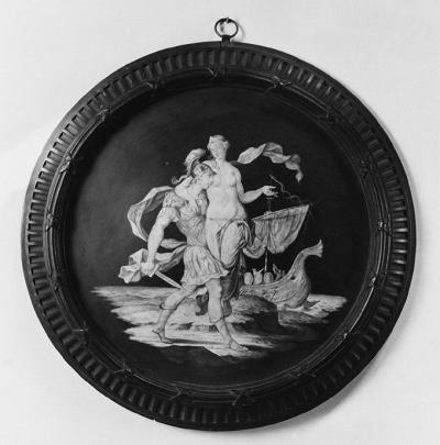 Ceramic plate with an image of a soldier pelvic thrusting into the leg of a naked woman whose expression is pretty nonplussed. Wedgewood may not have understood a woman's experience of rape.
