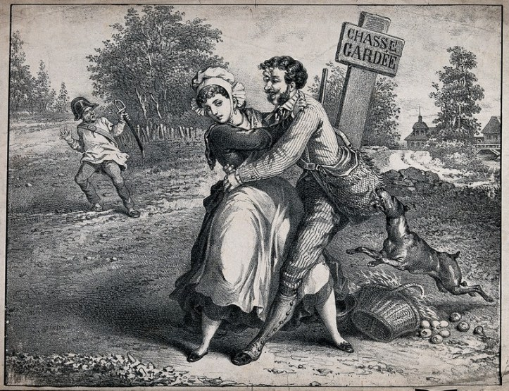 A lithograph of a man grabbing a woman by the waist while she tries to move away from him and pushes him off her. A dog bites his satchel.