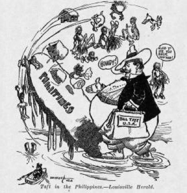 A political cartoon showing an excessively overweight Taft standing on one end of a small version of the Philippines and tipping the island up with his weight, throwing the inhabitants into the ocean.