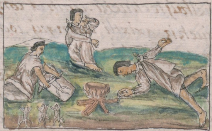 Illustration of people in white robes in positions of preparing and using medicines.