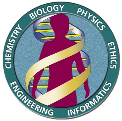 Circular illustration with a mauve human silhouette with bands depicting DNA helixes colored gold and blue surrounding it, the logo reads Chemistry Biology Physics Ethics Informatics Engineering.