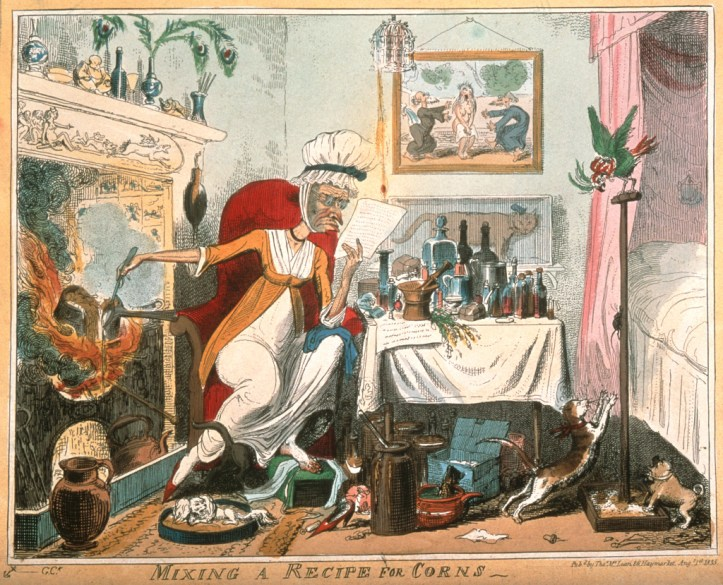 A colorful room that, as well as being cluttered with potions, room contains an assortment of squabbling pets; on the wall is a painting depicting the attempted seduction of Susanna by the elders, and in the center is a woman frowning at a recipe while stirring an overflowing pot over the fire behind her.