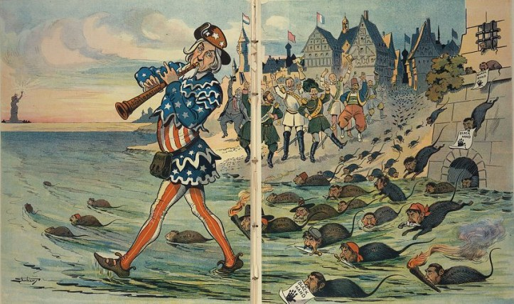 """Illustration shows Uncle Sam as the """"Pied Piper"""" playing a pipe labeled """"Lax Immigration Laws"""" and leading a horde of rats labeled """"Jail Bird, Murderer, Thief, Criminal, Crook, Kidnapper, Incendiary, Assassin, Convict, Bandit, Fire Brand, White Slaver, [and] Degenerate"""", and some carry signs that read """"Black Hand"""" showing a black handprint. In the background, rulers from """"France, Russia, Germany, Italy, Hungary/Austria, Turkey, [and] Greece"""", along with citizens of these countries, are cheering the fleeing rats."""