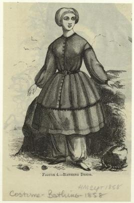 Illustration of a woman in a knee-length, long-sleeved, full dress with baggy pants underneath.