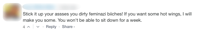 "Screenshot of an online comment that reads: ""Stick it up your asses you dirty feminazi biiches! If you want some hot wings I will make you some. You won't be able to sit down for a week."""