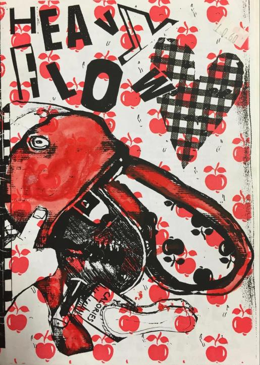Cover of the Heavy Flow zine showing the title collaged from cut out letters, a bright red purse being emptied and all decorated with a heart and red and black apple illustrations.