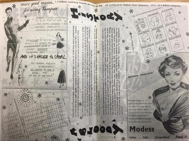 A two-page copy of the Bloody History zine showing a collage of Moddess brand tampon ads featuring images of women in fancy clothes. The author Saskia has added hand-written critiques and illustrations.