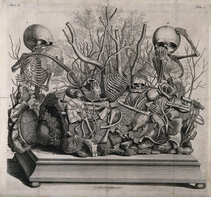 A diorama showing two nearly intact standing fetal skeletons flanking a large rock adorned with branches and other parts of skeletons.
