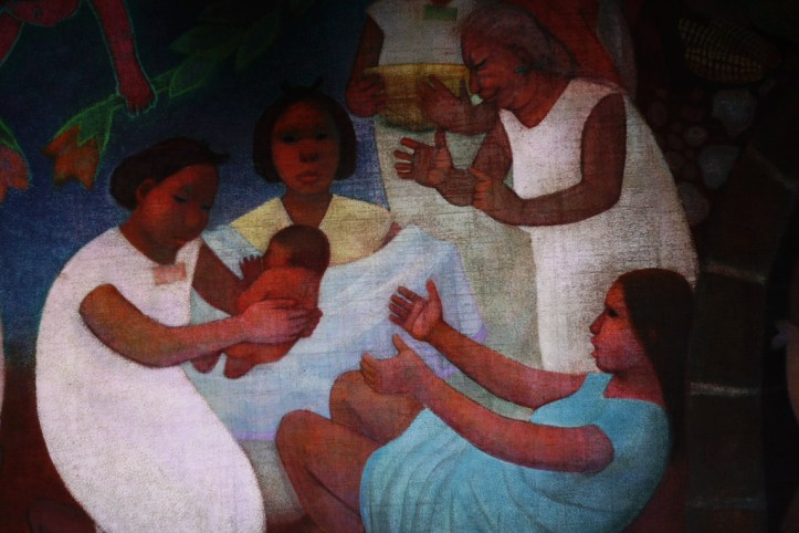 Painting of four women, one handing a newly delivered baby to the mother.