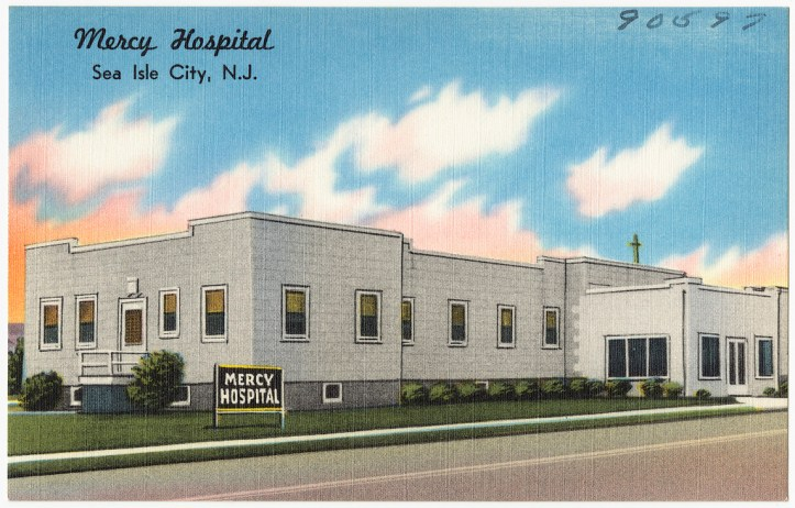 Drawing of a small hospital building topped with a cross.