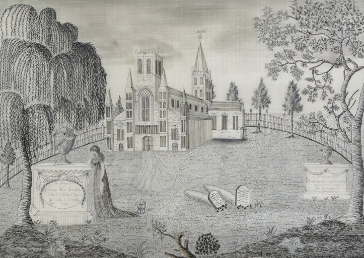A black-and-white embroidered image with a weeping tree in the foreground, under it is a mourning figure. It in the center of the image are two small gravestones, and int he background a large lawn leading up to a stately house or church.