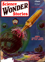 A green-and-blue illustrated comic book cover featuring a green metal sphere and a cylindrical golden object with a needle-shaped point.