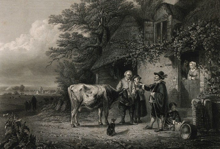 Black and white illustration of a farm scene with a doctor in a cloak and hat pointing at a standing cow while a man and woman look concerned. A small child sits on the ground examining the doctor's box and two other people in bonnets look out the door of the farmhouse.