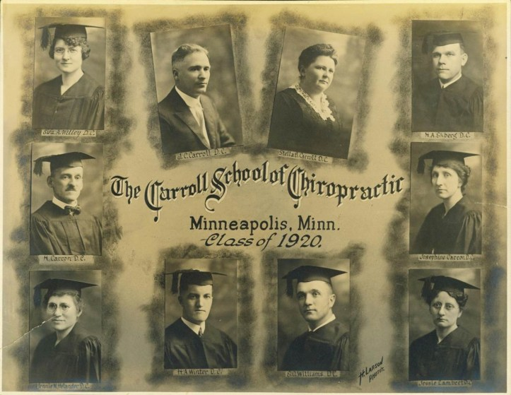 Composite photo of graduates at Minneapolis, MN's Carroll School of Chiropractic in 1920. The school's founders, Stella and J.C. Carroll, are depicted, as are four female and four male graduates.
