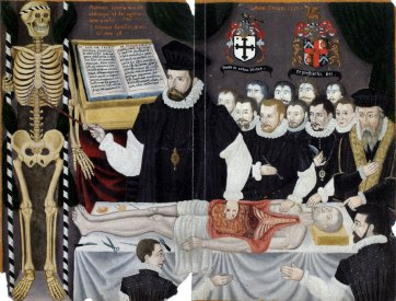 A color painting depicting a man in expensive-looking black and white robes performing an anatomical lecture with an audience in the background and a partially disected human body on the table in the foreground. The teacher fiture is indicating a part of a standing human skeleton and has a large book open behind him.