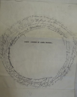 "The signature page of a protest document, with the signatures forming large concentric circles around the text: ""Forty signers of above protest."""
