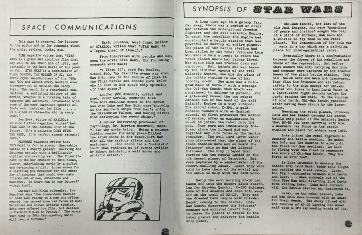 "An open newsletter style fanzine showing an article titled ""Space Communications"" and ""Synopsis of Star Wars"" with a small illustration of a storm trooper's head in the lower right of the left-hand page."