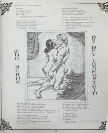 "A page from the Organia fanzine featuring a poem titled ""Who Burns"" with a large illustration of two embracing nude figures, in a somewhat ancient Greek stylized design."