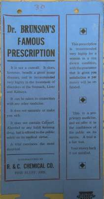 A blue sheet of paper with type-written lettering promoting Dr Brunsen's Famous Prescription for a proprietary medicine produced by R and C chemical company, Arkansas.