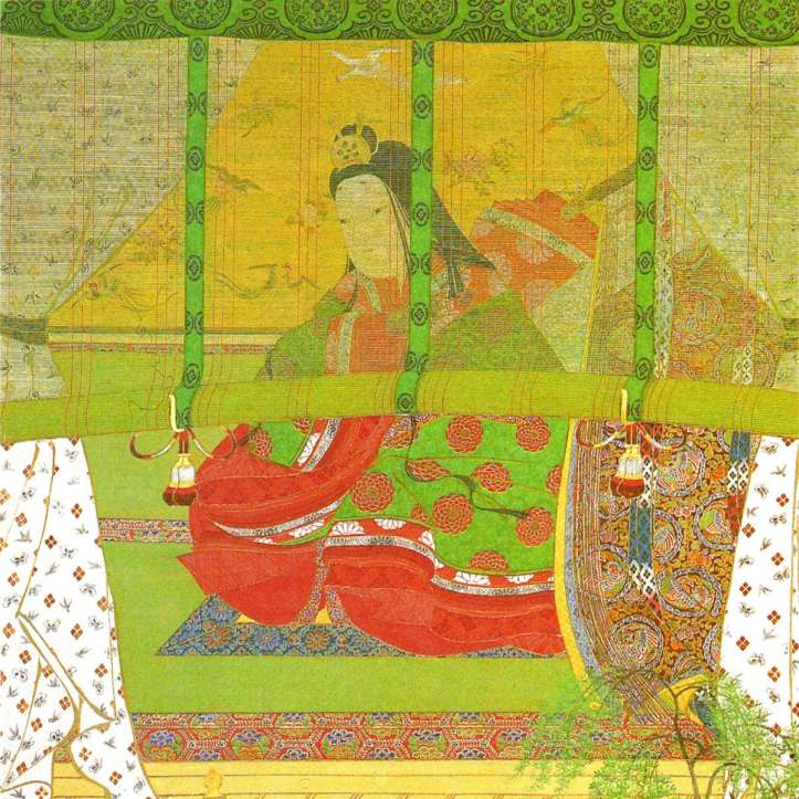 A bright green, yellow, and red artistic representation of a seated Japanese Empress wearing flowing robes.