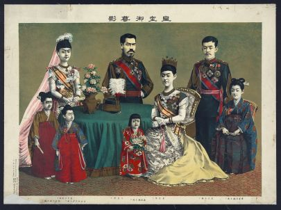 Ink drawing and photograph mixed media of the Japanese imperial family. The empress sits in a chair in a yellow silk gown, with one small child at her knee. Three other small children stand around the painting, with an older girl in the top left, an older son in the top right, and the emperor in the center of the image, standing behind a green tableclothed small round table.