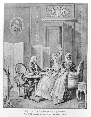 ink drawing of a 18th century drawing room, in which three people sit around a small table - a man in a white wig, and two women, who are looking at eachother. Another women peeks her head into a open door in the background.