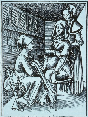 woodcut of a woman seated in front of a pregnant woman on a birthing chair.