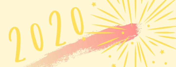 2020 with a painted underline and starburst at the end
