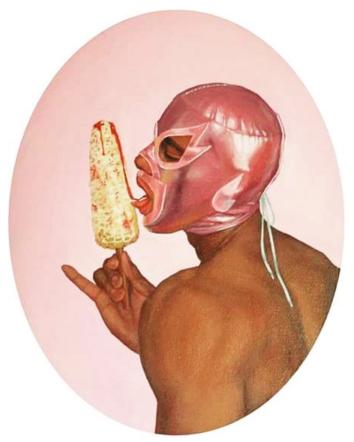 A painting of a luchador. (Courtesy Fabián Cháirex)