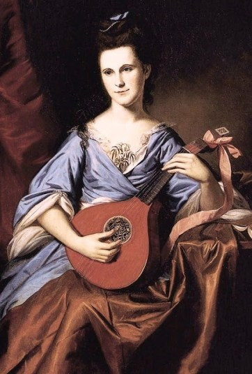 Painting of Julia Rush, sitting on a chair playng a lute, wearing a sloping-shouldered lavender colored dress.