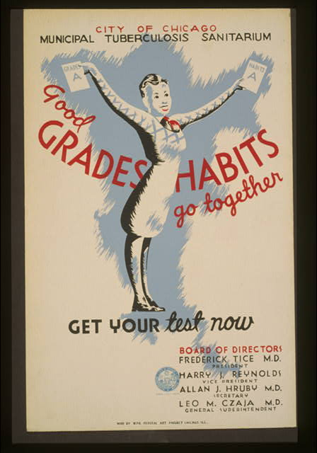"Poster with a drawing of a young woman with short hair holds up two pieces of paper with ""A"" on them. Text written over it ""Good grades Habits go together. Get your Test now"""