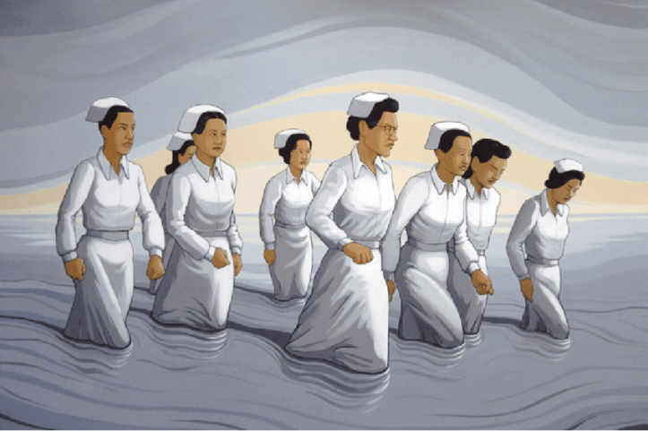 Painting of eight Filipino nurses in white uniforms, most with little white caps, marching through some gray water. Their walking leaves a trail behind them. Some have eyes downcast, some look determinedly ahead.