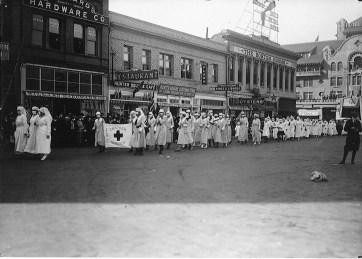 Nurses marching in masks