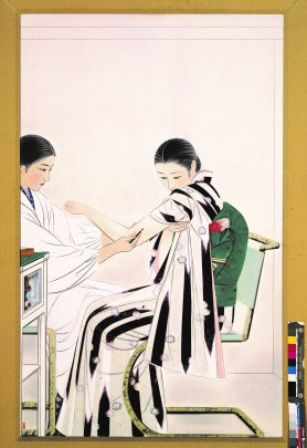 Painting of a Japanese woman in white robes administering a shot to another Japanese woman in a striped dress.