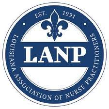 A blue and white logo, with LANP across the center of a circle, topped by a Fleur de Lis