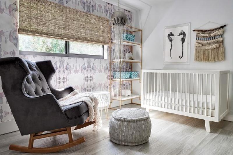 Baby Boy Nursery Ideas - Charcoal Gray Velvet Tufted Nursery