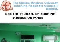 OAUTHC School of Nursing Admission Form 2021/2022 Academic Session Out 1