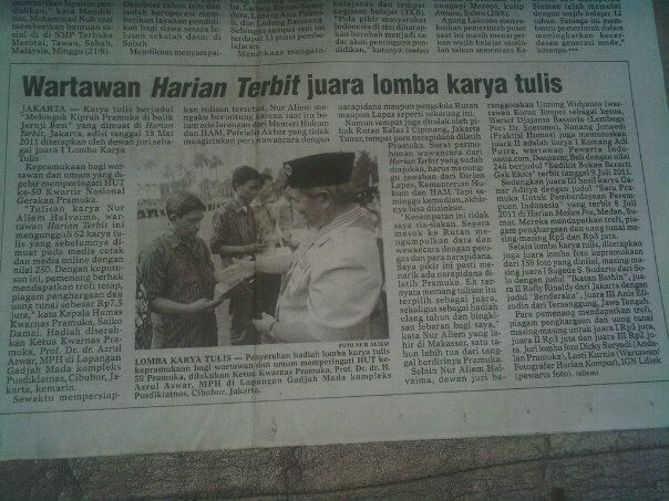 Tulisan ini pernah dimuat di koran Harian Terbit kemudian dinyatakan menang lomba karya tulis (foto dok pribadi)