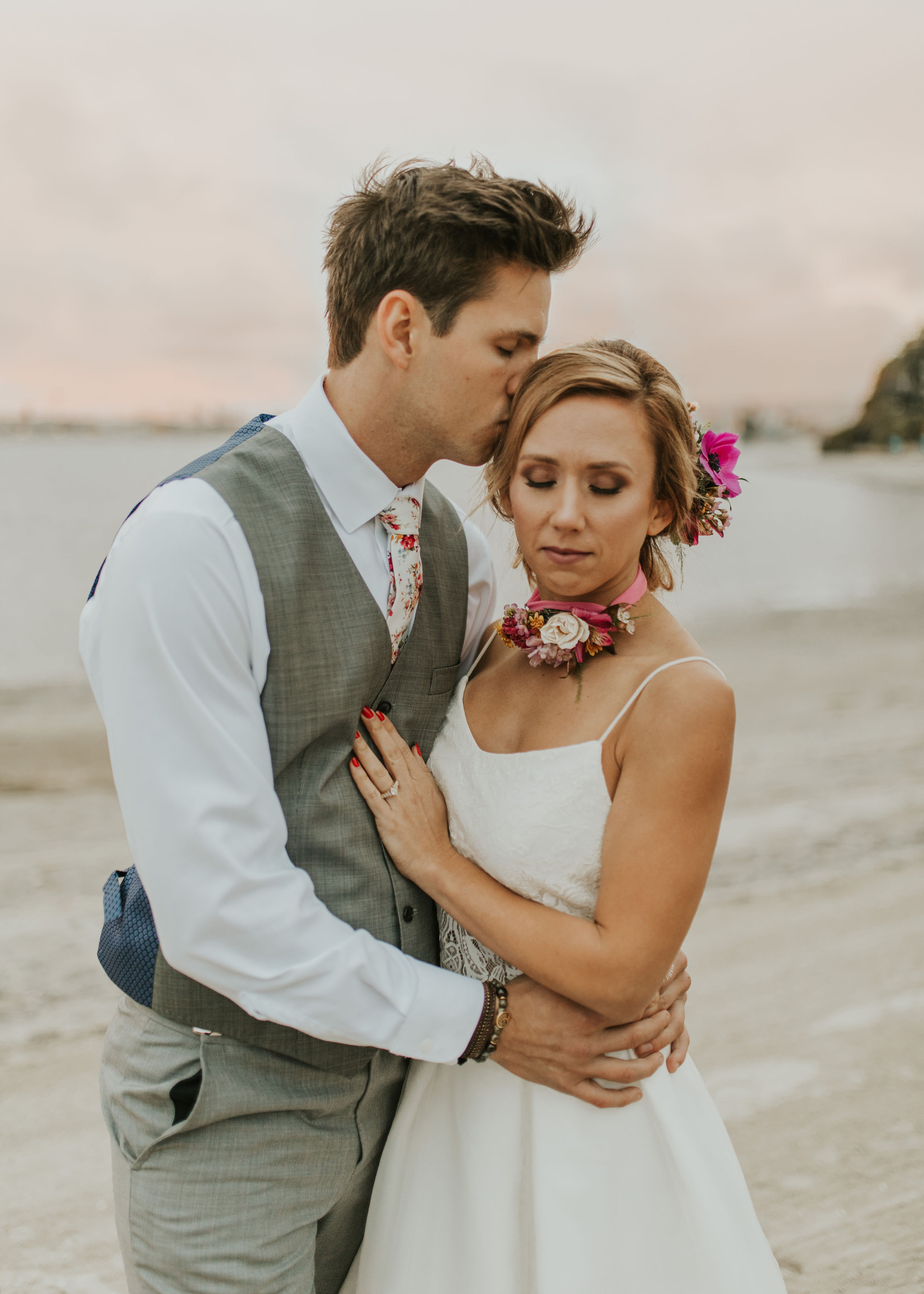 Bright tropical wedding inspiration in San Diego from your friends at With Flourish. Meta Text- Here at With Flourish, we loved this bright tropical wedding inspiration! We had a blast using shades of blush to hot pink and gold and mustard.