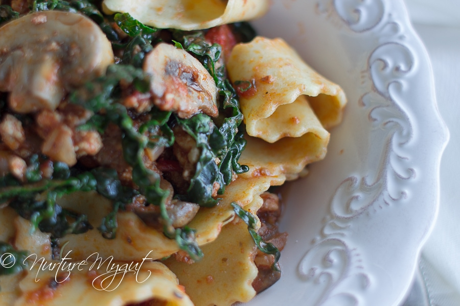 Paleo Reginette Pasta with Kale & Mushrooms