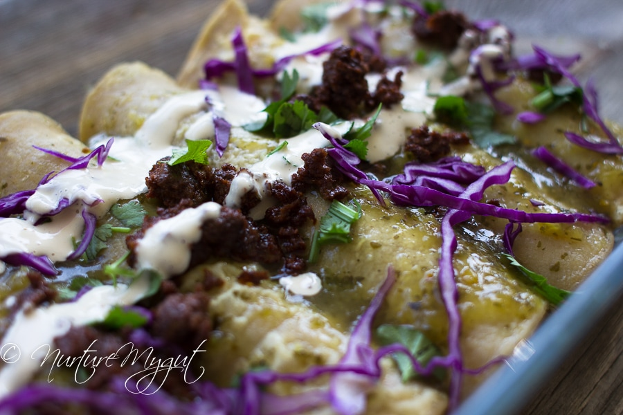 Green Chicken and Chorizo Enchiladas w-Dairy Free Crema