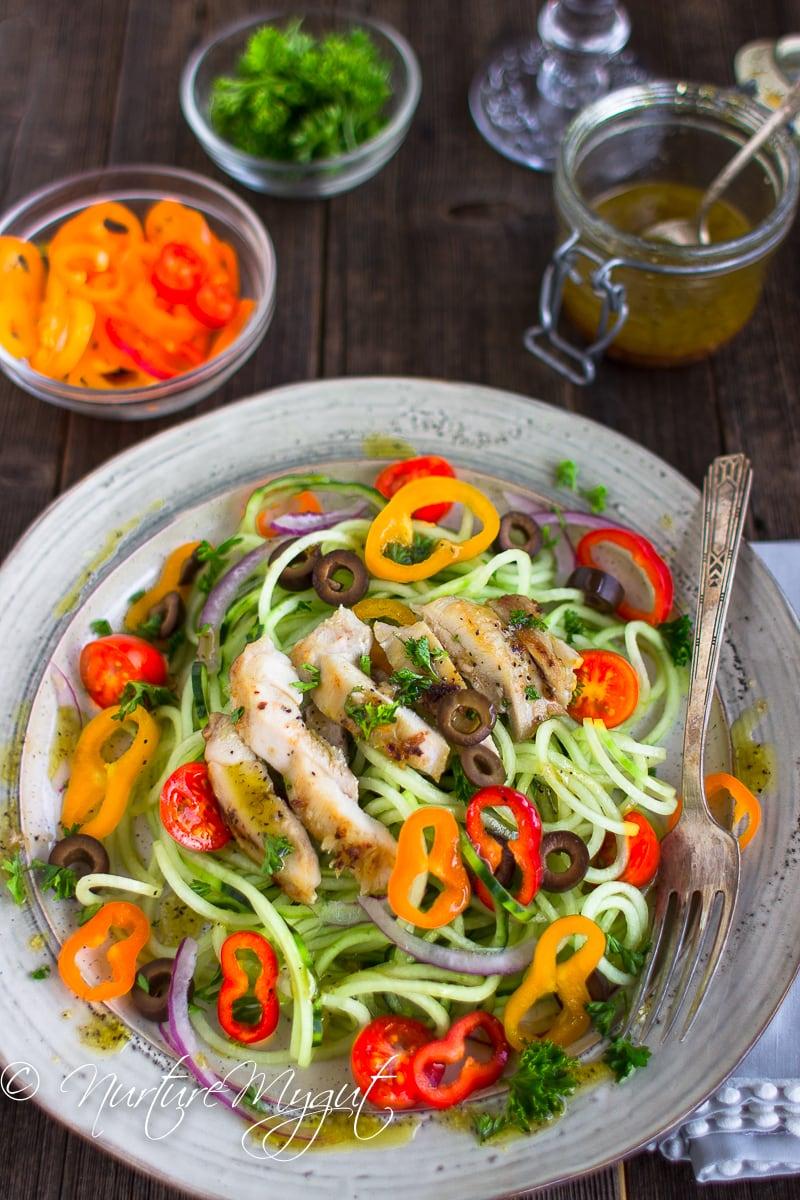 Garlic Chicken with Greek Cucumber Noodle Salad.