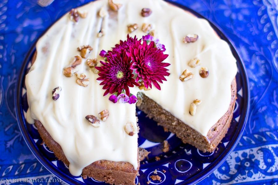 Gluten Free Banana Spice Cake with Vegan Cream Cheese Frosting