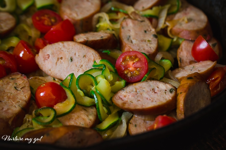 Breakfast Zoodle Ratatouille with Italian Sausage