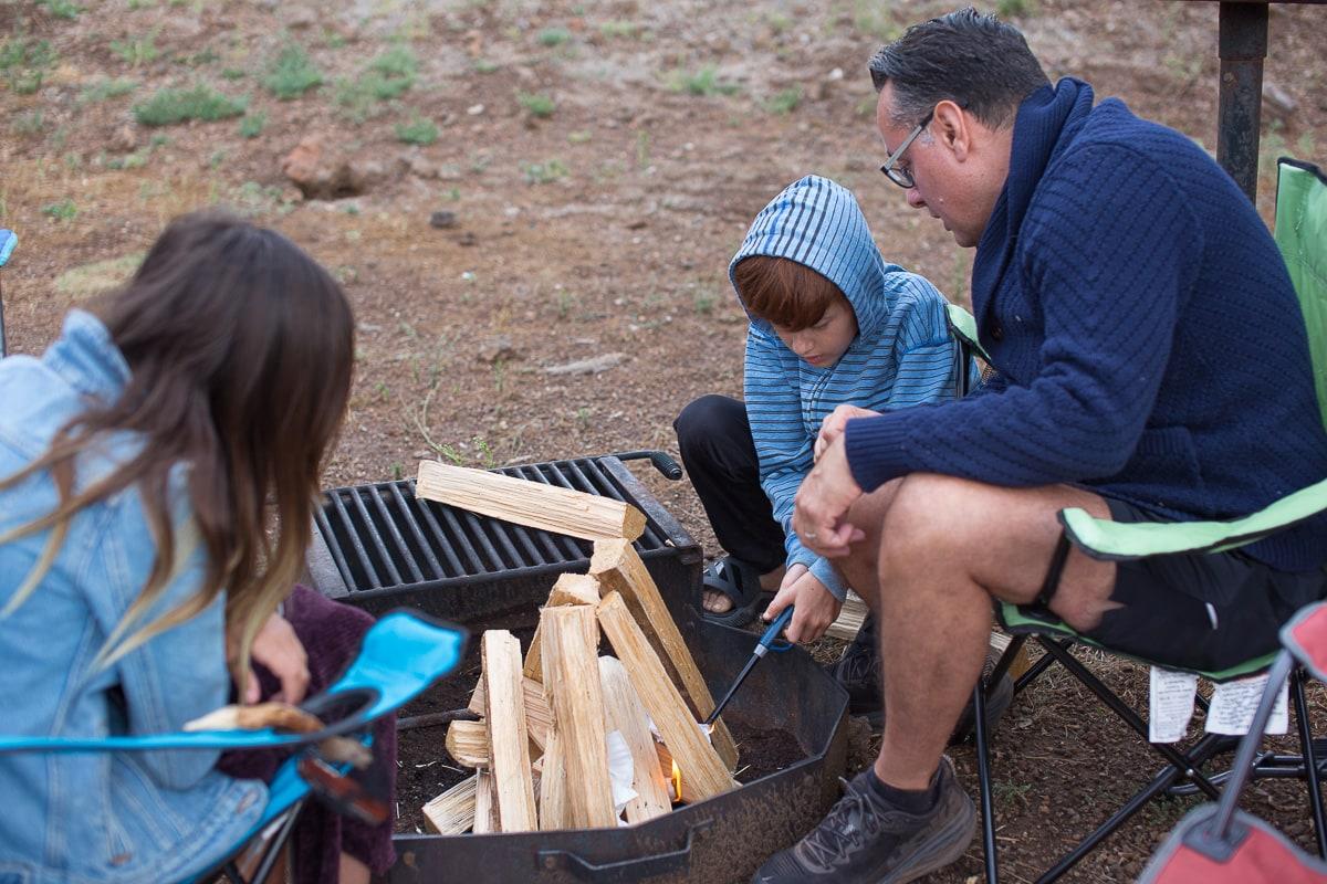Building a fire at Grand Canyon KOA