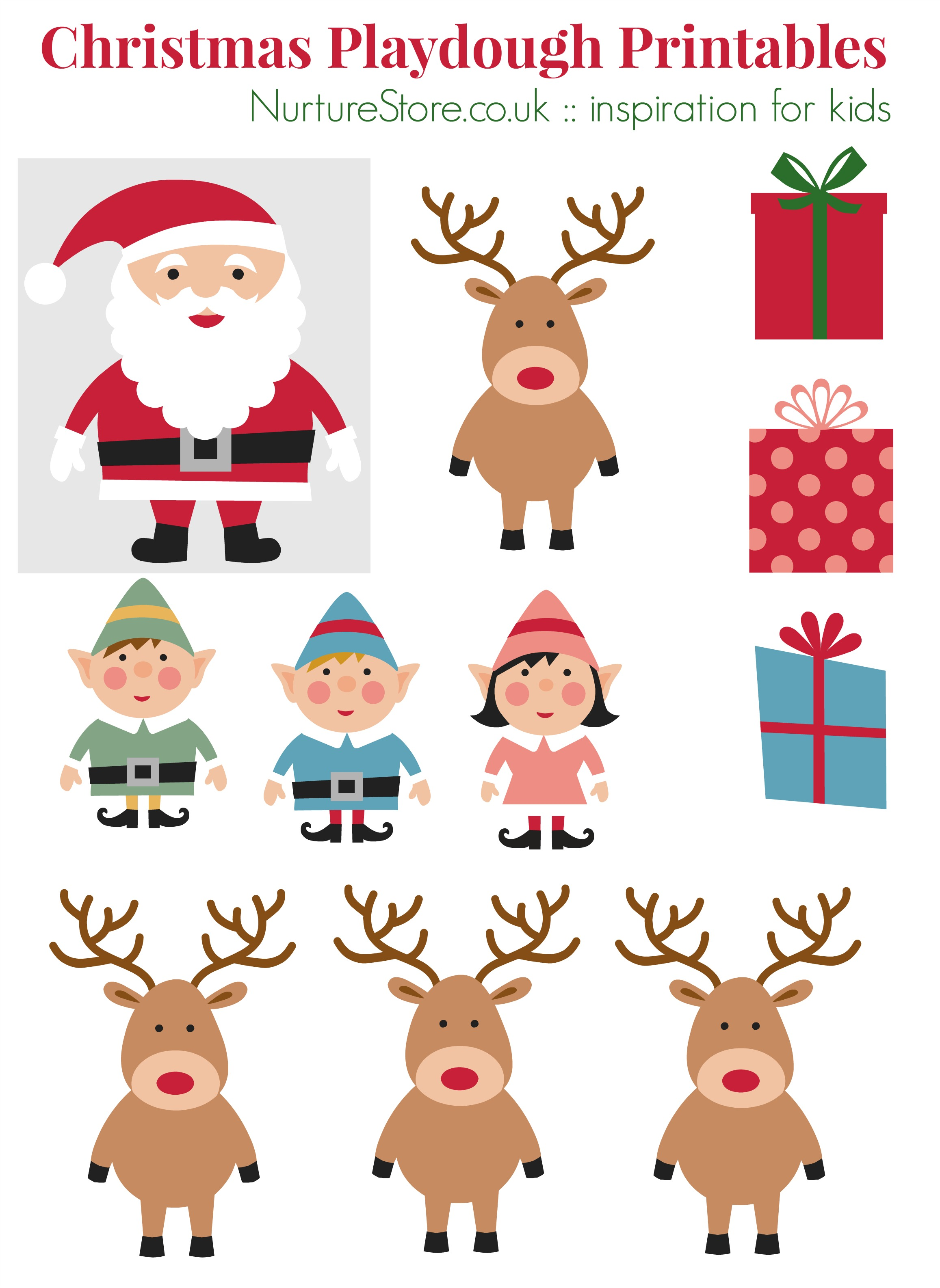 Father Christmas Puppet Printables For Playdough