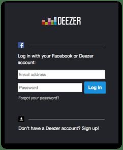 Login di Deezer for Mac dulu