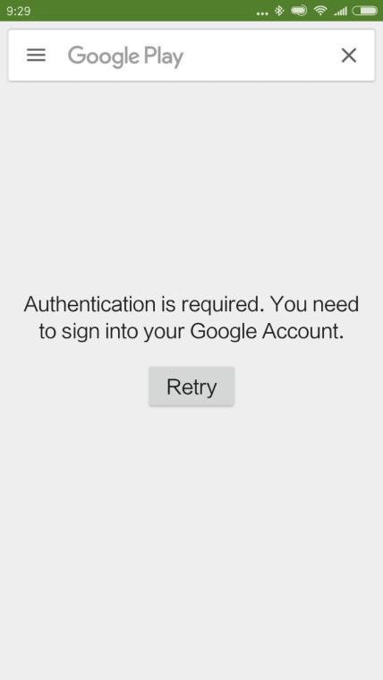 Google Play Store Authenticaton Required Error